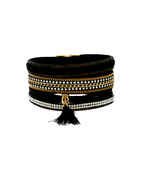 Black Colour Fancy Leather Bracelets For Girls