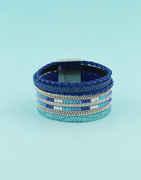 Blue Colour Designer Leather Bracelets Fancy