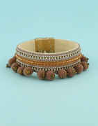 Brown Colour Leather Bracelets For Western Wear