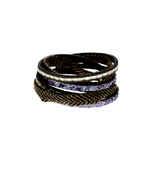Fancy Silver Tone Leather Bracelets