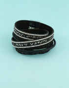 Fancy Black Colour Western Leather Bracelets For Girls