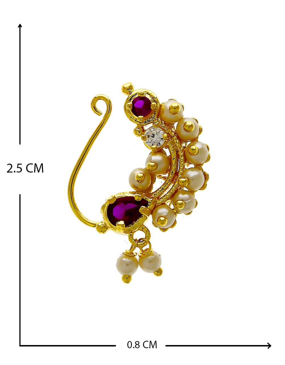 Green Colour Gold Finish Floral Nath