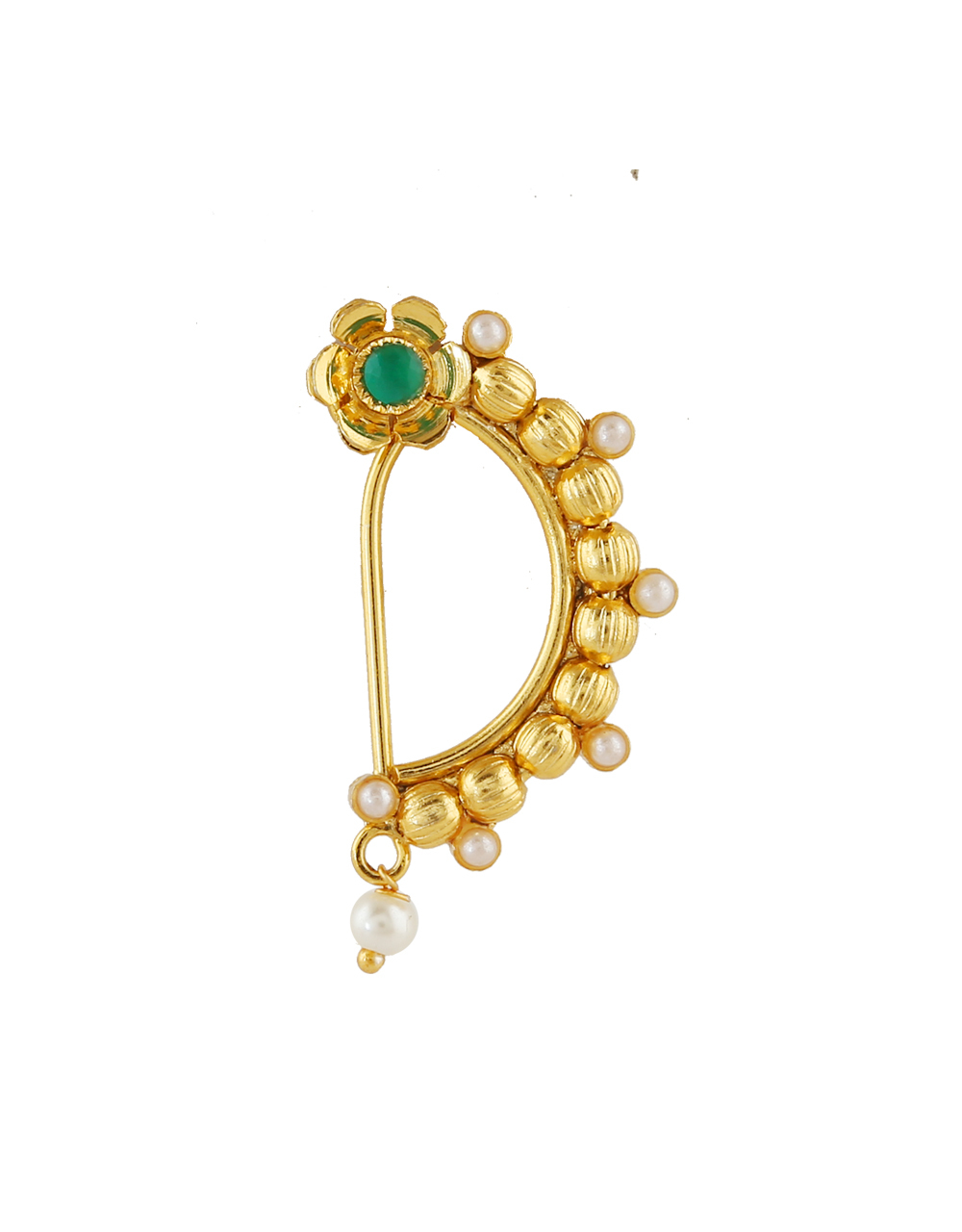 Green Colour Gold Finish Fancy Nath For Women
