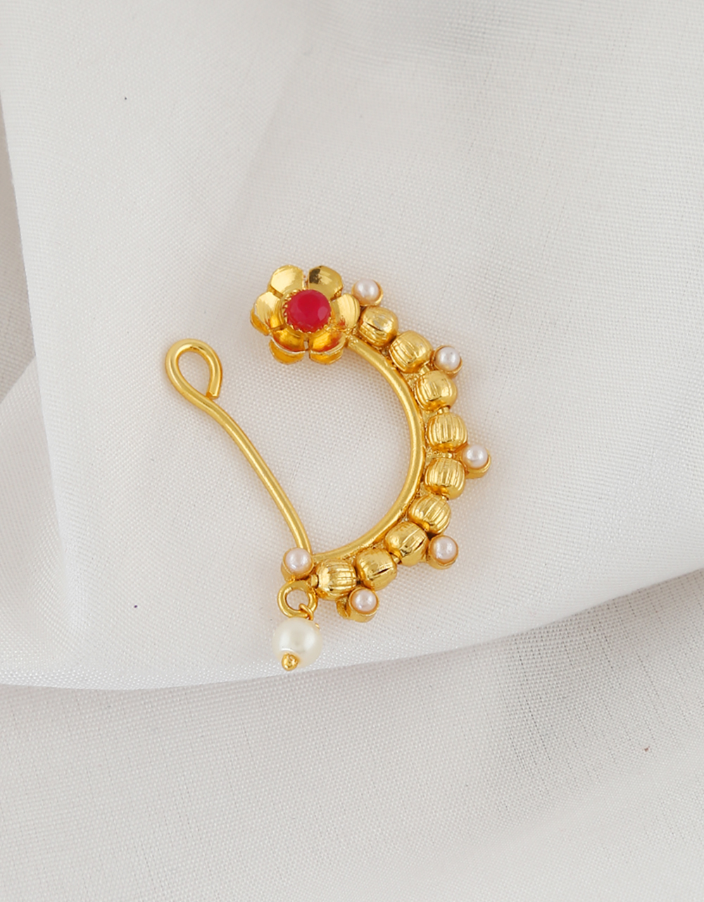 Floral Design Gold Finish Pearls Styled Nath