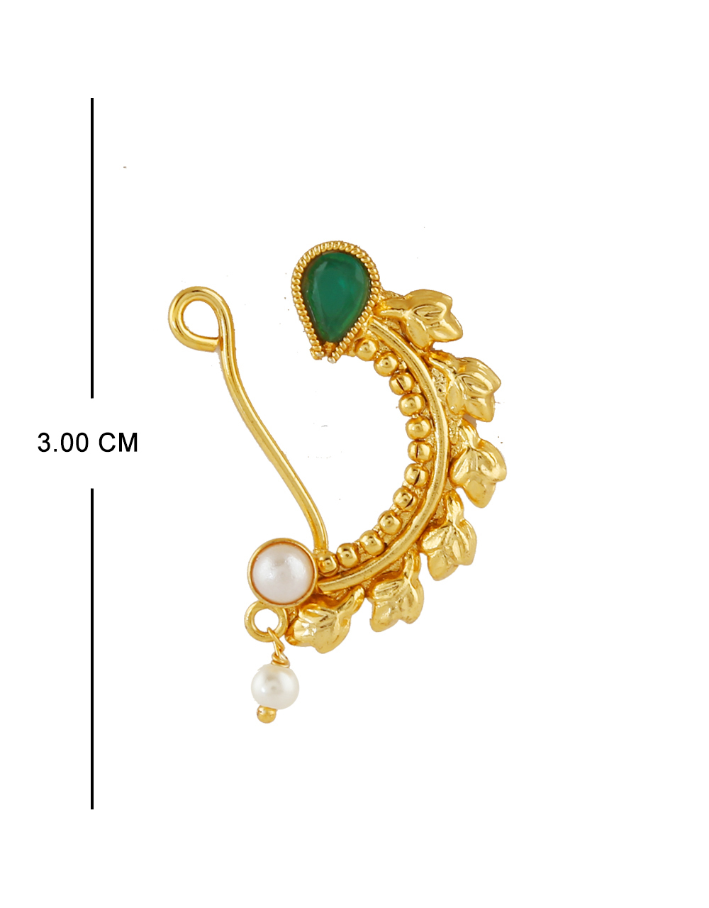 Green Colour Gold Finish Traditional Nath Fancy