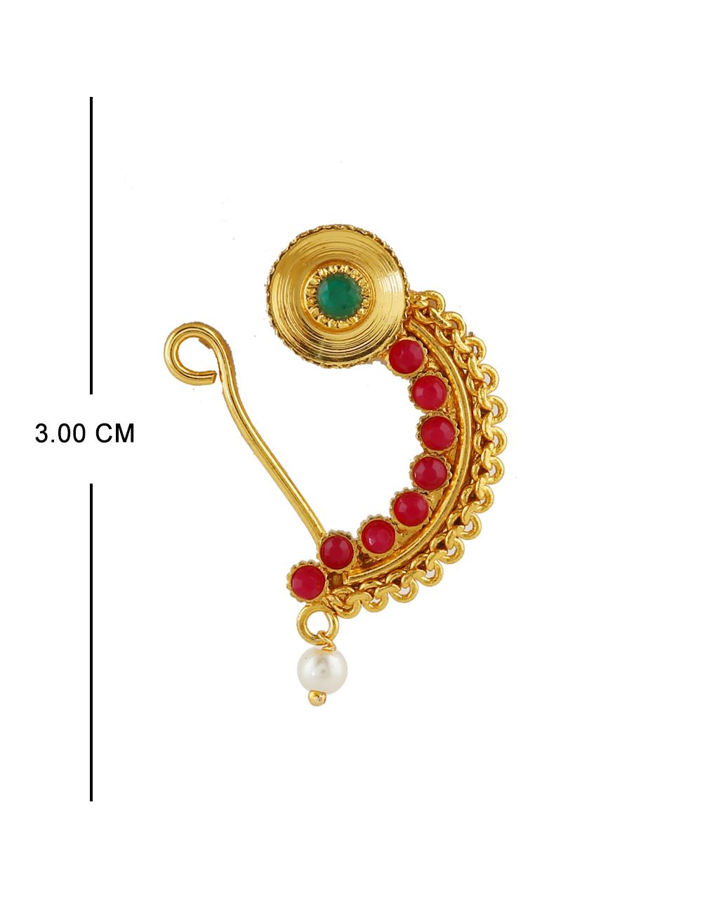 Red Colour Gold Finish Traditional Nath For Wedding