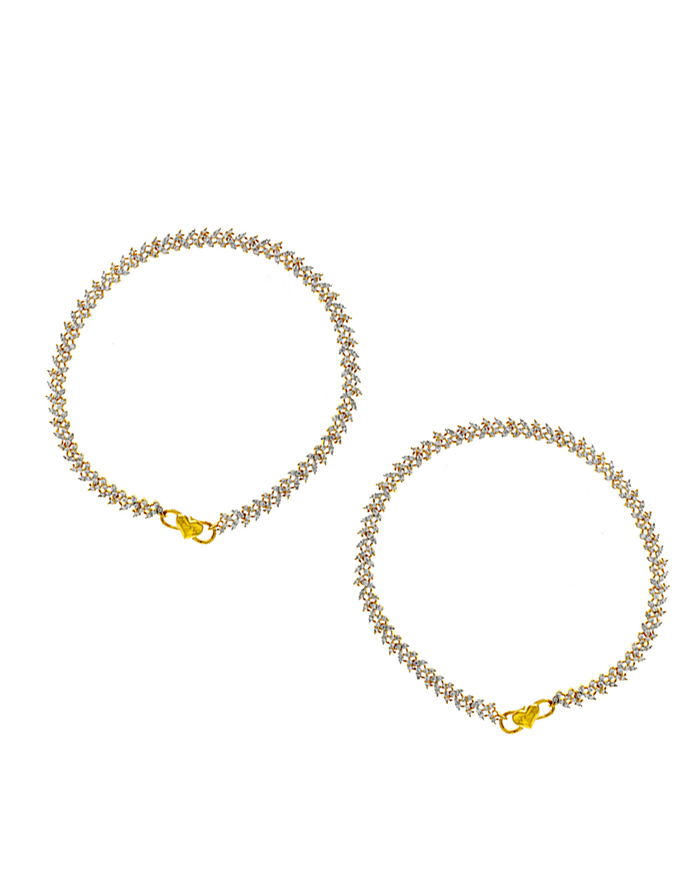 Gold Finish American Diamond Payal Anklet For Girls