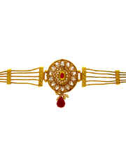 Red Colour Gold Finish Bajuband Fancy For Women Traditional