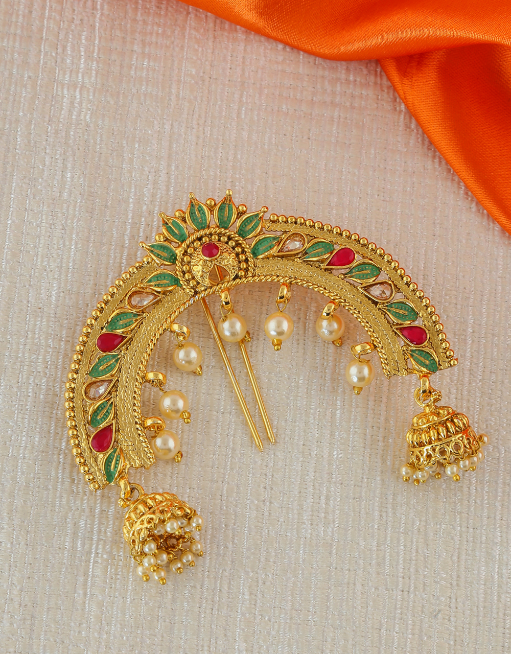 Fancy Gold Finish Multi Colour Hair Brooch Pin