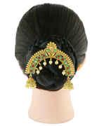Green Colour Gold Finish Hair Pin Brooch