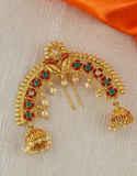 Maroon Colour Gold Finish Ambada Hair Brooch Pin