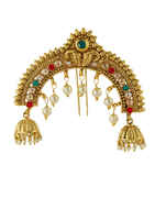Peacock Design Gold Finish Multi Colour Hair Ambada Pin