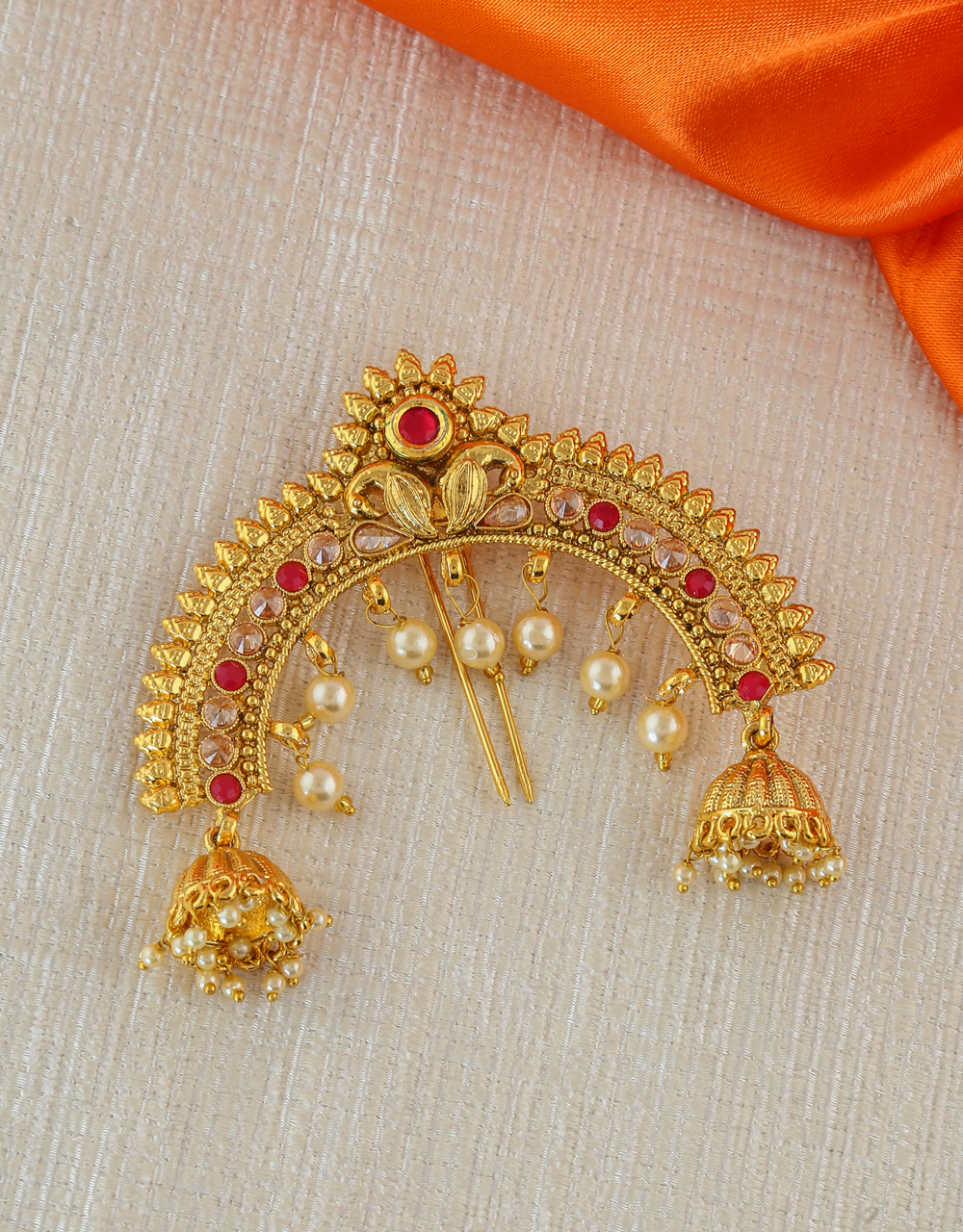 Red Colour Gold Finish Designer Hair Brooch Pin