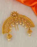 Floral Design Peach Colour Gold Finish Hair Accessories