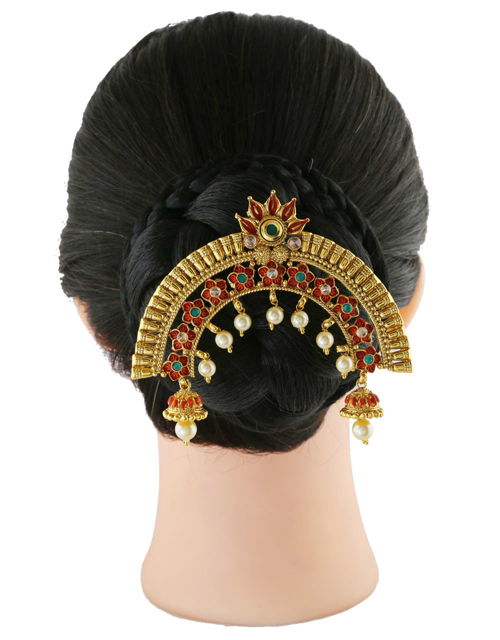 Red Colour Gold Finish Floral Design Hair Ambada Pin
