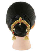Red Colour Gold Finish Hair Brooch For Wedding