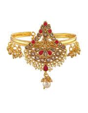 Red Colour Gold Finish Designer Armlet For Girls