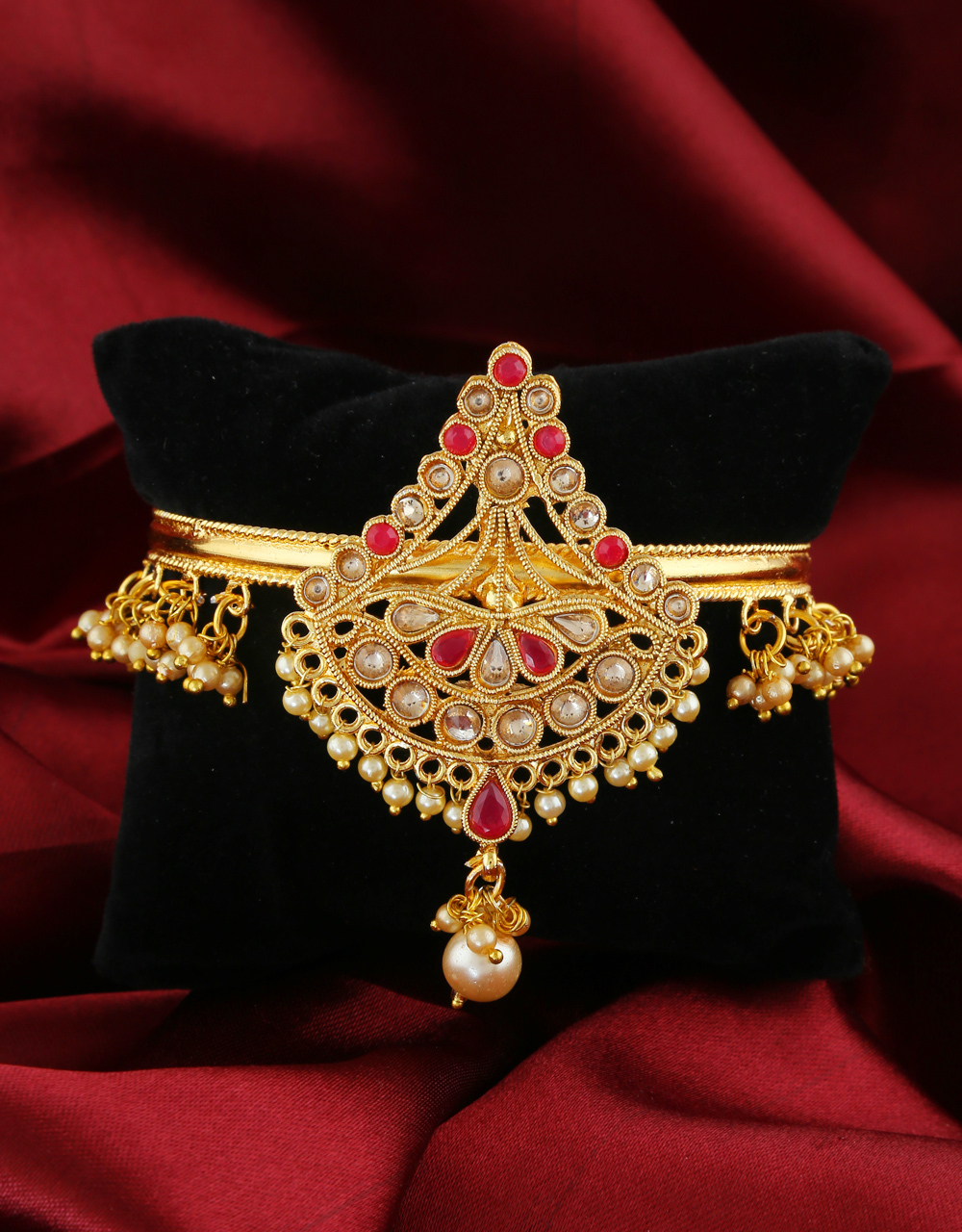 Red Colour Gold Finish Designer Armlet For Girls
