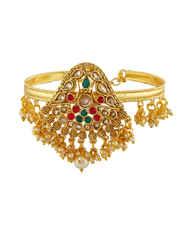 Multi Colour Gold Finish Bajuband Styled With Pearls Beads Bajuband