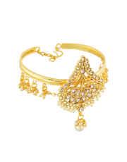 Gold Finish Fashionable Bajuband Studded With Stones Fancy Armlet