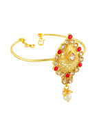 Red Colour Fancy Gold Finish Wedding Bajuband For Women