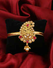 Red Colour Gold Finish Bajuband Jewellery