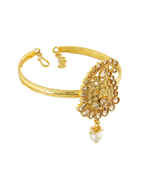 Fancy Gold Tone Traditional Bajuband Studded With Stones Armlet