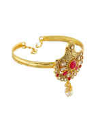 Red Colour  Gold Finish Fancy Bajuband