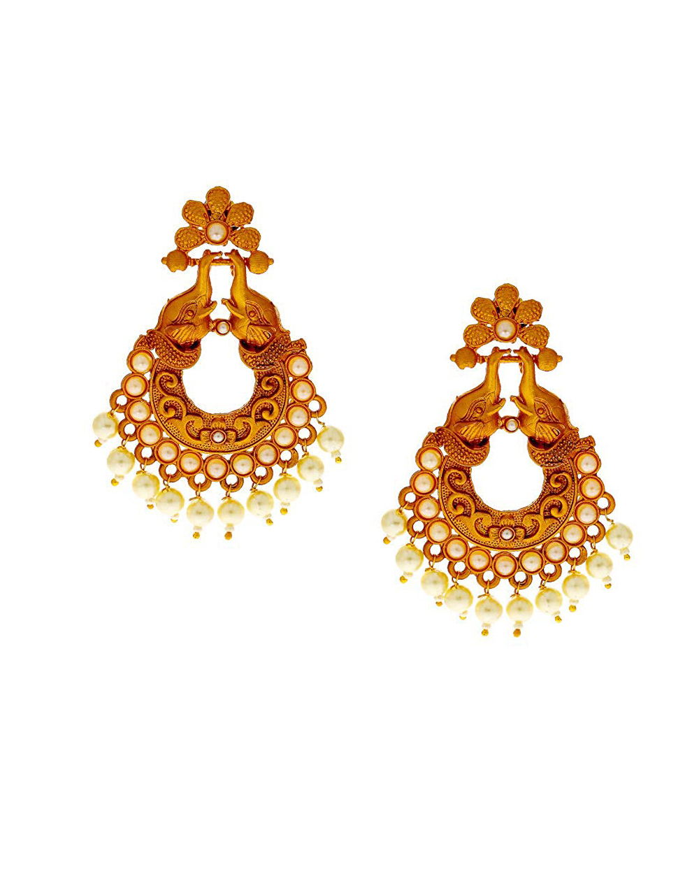 Gold Finish Moti Styled Traditional Earrings For Girls