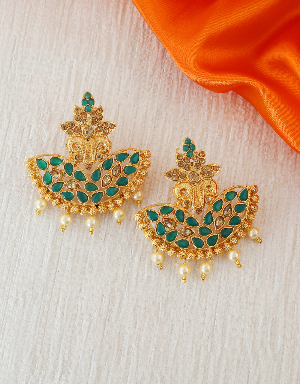 Green Colour Gold Finish Adorable Earrings