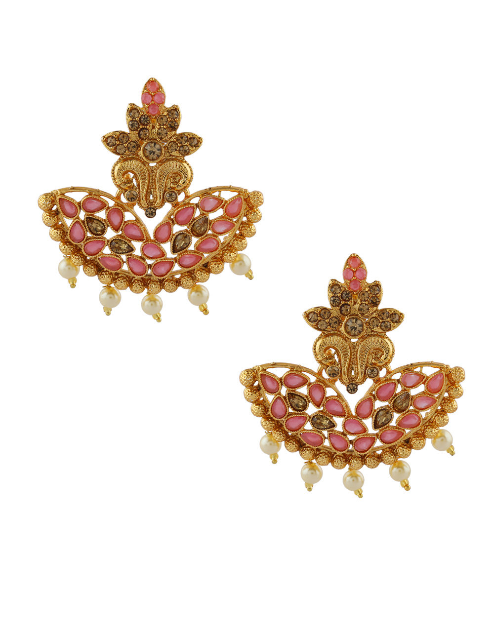 Pink Colour Gold Finish Party Wear Earrings