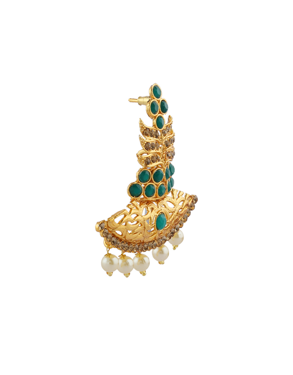 Green Colour Gold Finish Fancy Traditional Earrings