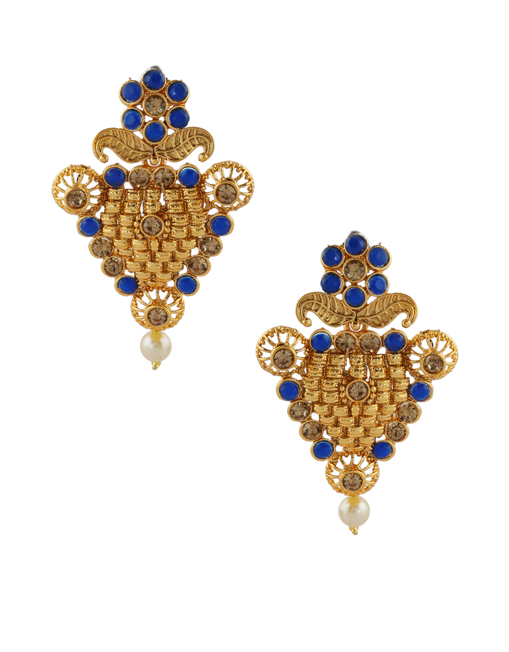 Blue Colour Floral Design Earrings Traditional