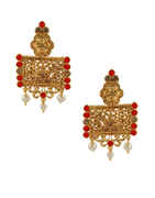 Red Colour Gold Finish Moti Styled Fancy Ear Rings