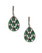 Silver Finish Green Colour Diamond Earrings For Girls
