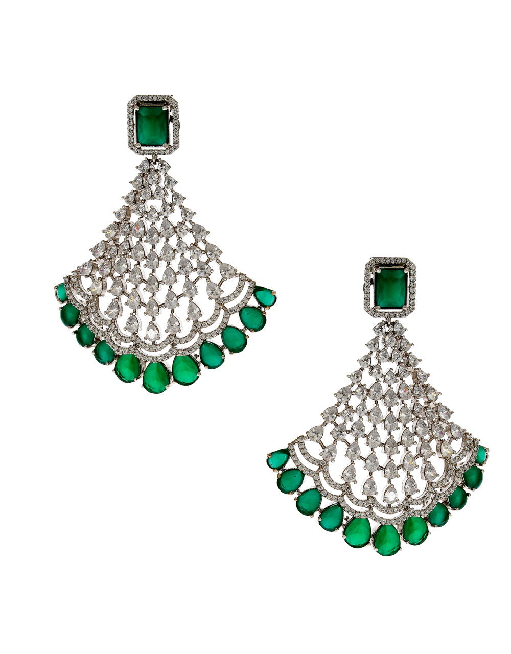 5a580742d Green Colour Silver Finish Diamond Earrings For Girls. Loading zoom. image