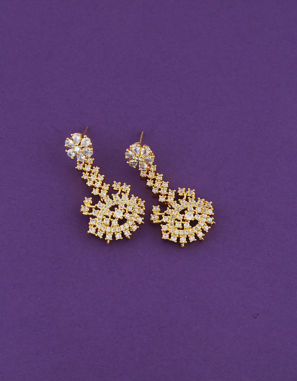 Floral Design Gold Finish American Diamond Earrings