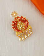 Red Colour Fancy Mina Work Sari Brooch Pin