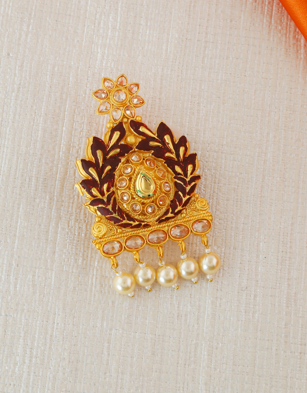 Brown Colour Gold Finish Fancy Saree Pin For Women