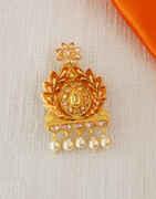 Orange Colour Gold Finish Traditional Saree Pin