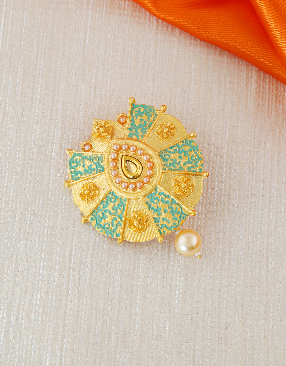 Green Colour Gold Finish Traditional Brooch Pin
