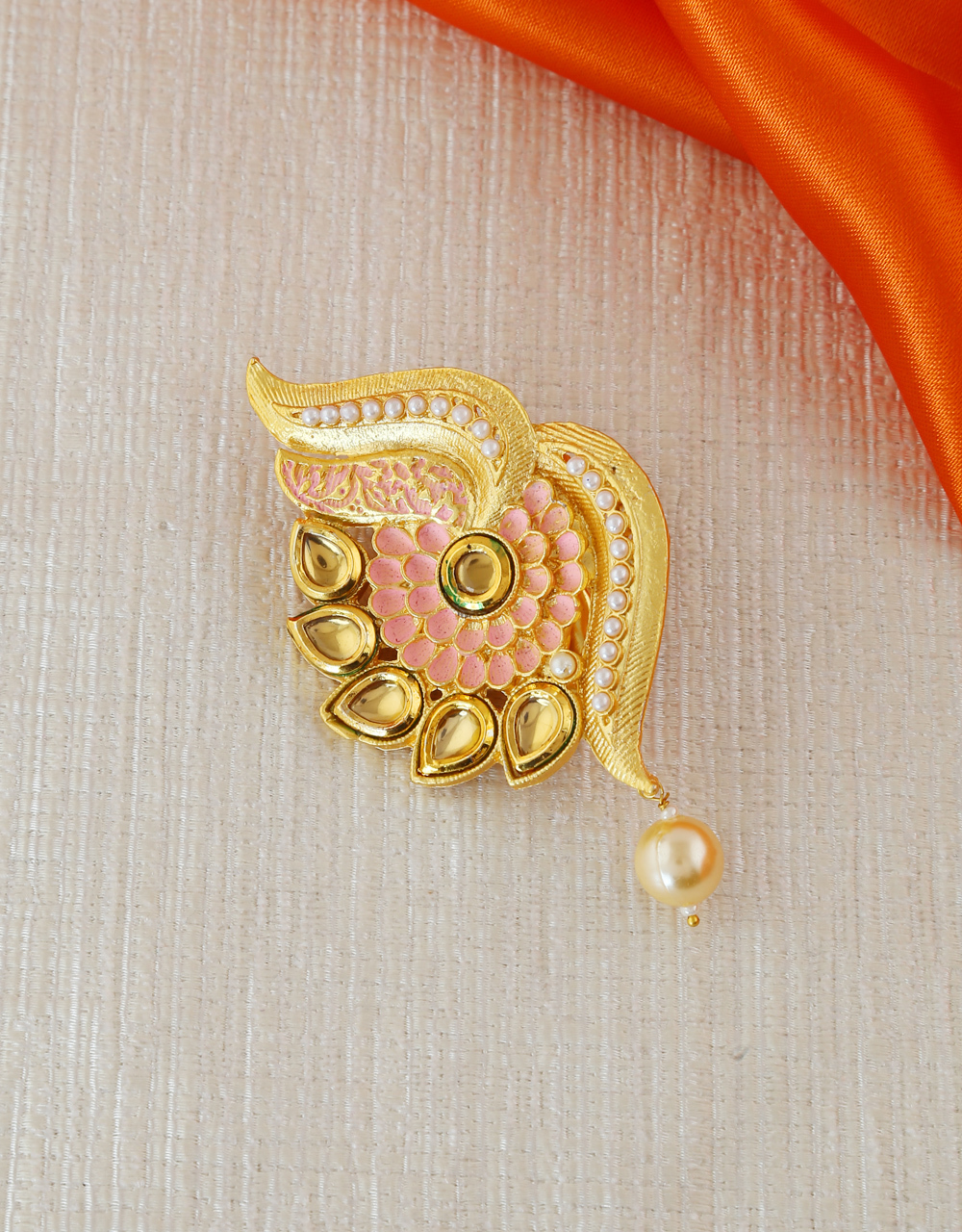 Pink Colour Gold Finish Fancy Sari Pin For Wedding