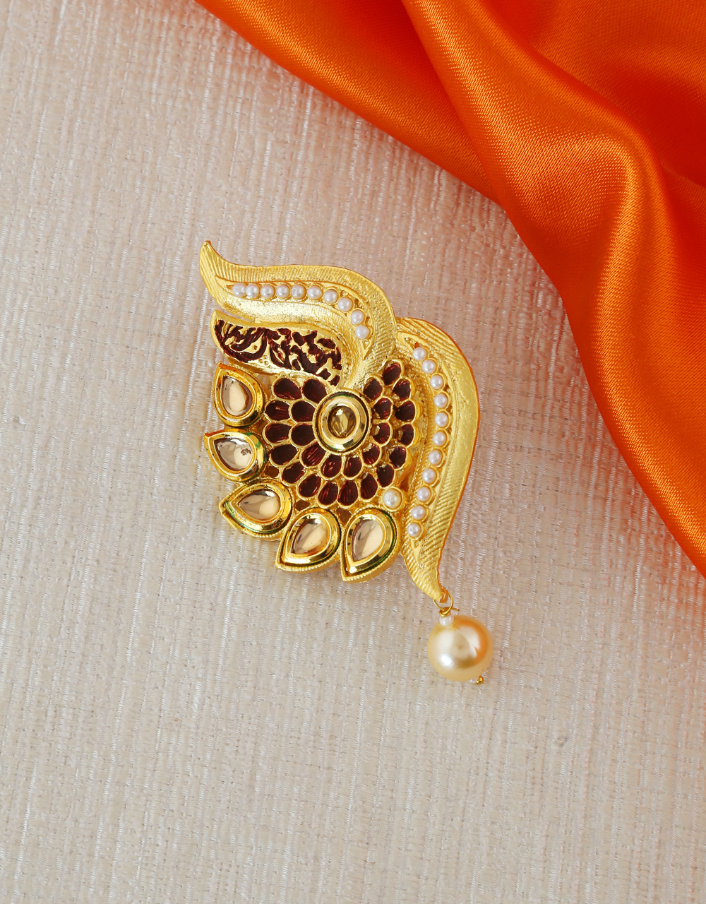 Brown Colour Gold Finish Saree Pin For Girls