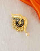 Navy Blue Colour Gold Finish Fancy Saree Pin