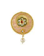 Pink Colour Gold Finish Kundan Brooch Pin