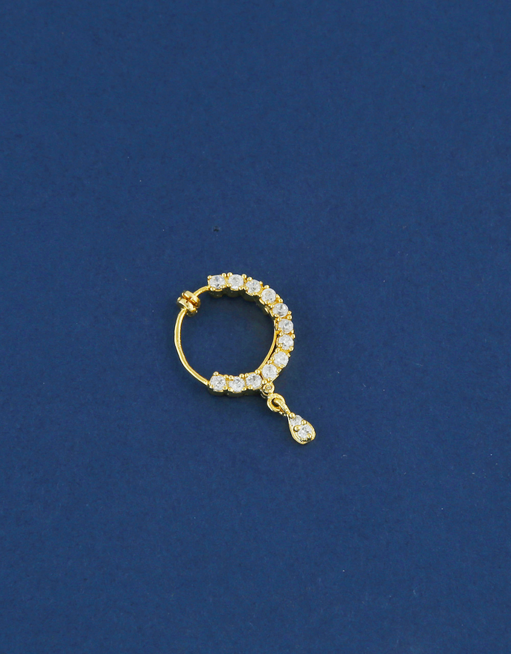 Adorable Gold Finish American Diamond Nose Ring
