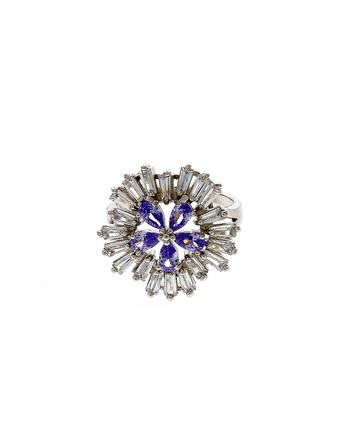 Silver Finish Fancy Diamond Finger Ring