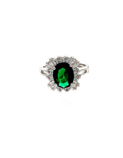 Green Colour Silver Finish Fancy Ring