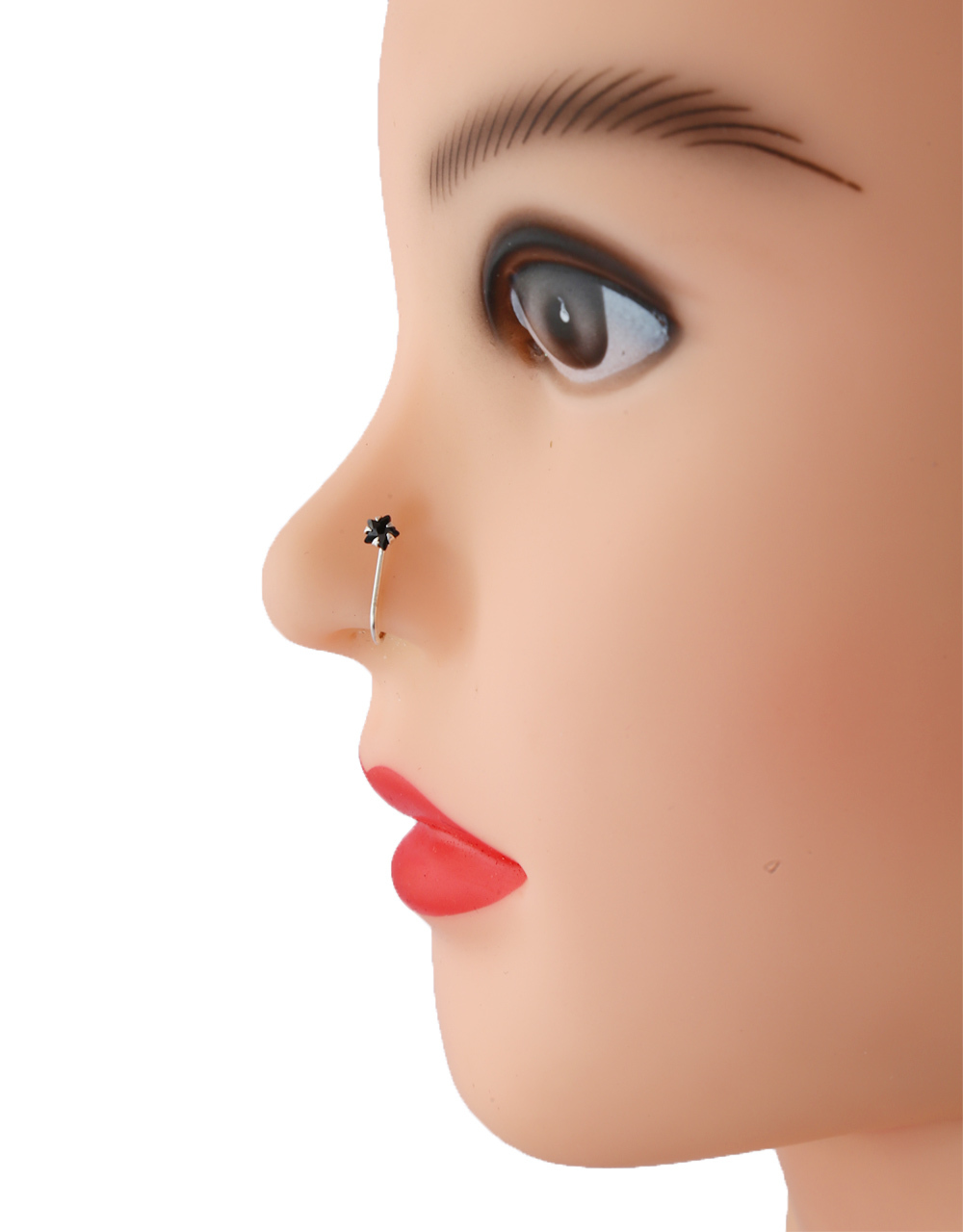Simple Black Colour Silver Finish Nose Stud