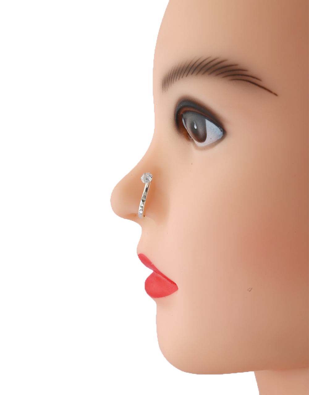 Silver Finish Diamond Nose Stud For Girls